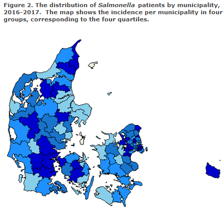 Figure 2. The distribution of salmonella patients by municipality 2016-2017