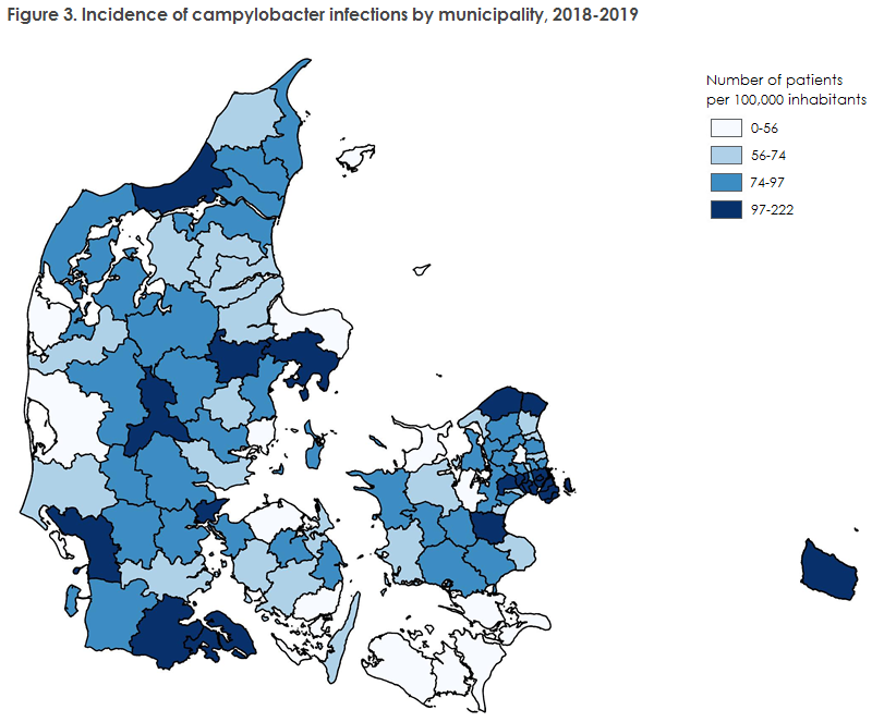 Figure 3. Incidence of campylobacter infections by municipality, 2018-2019